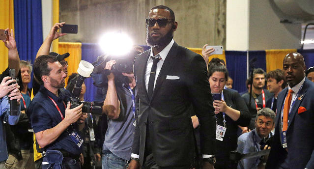 LeBron James arrives to Game 1 of the NBA Finals.
