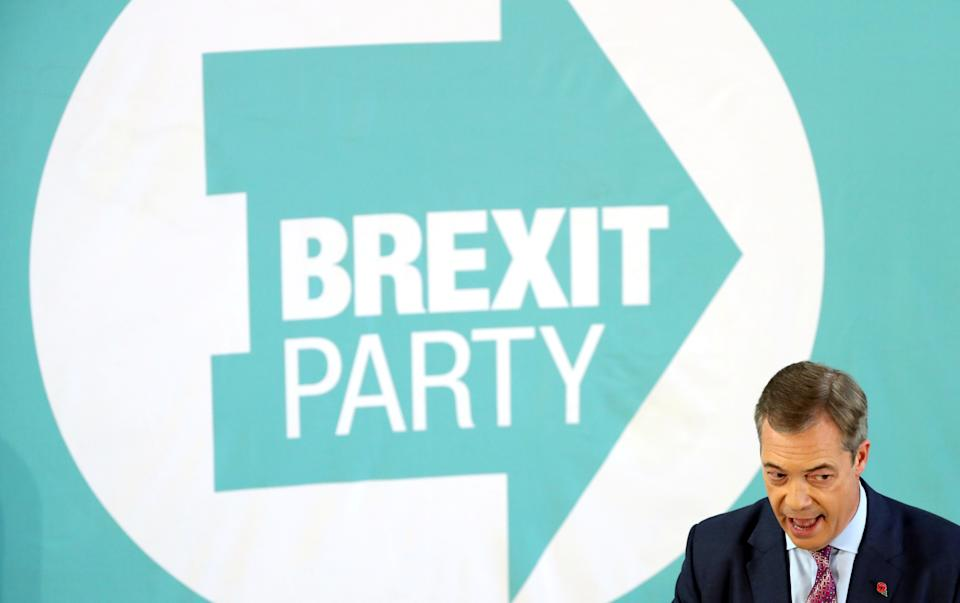 Brexit Party leader Nigel Farage speaks during a general election campaign event in Hartlepool, Britain, November 11, 2019. REUTERS/Scott Heppell