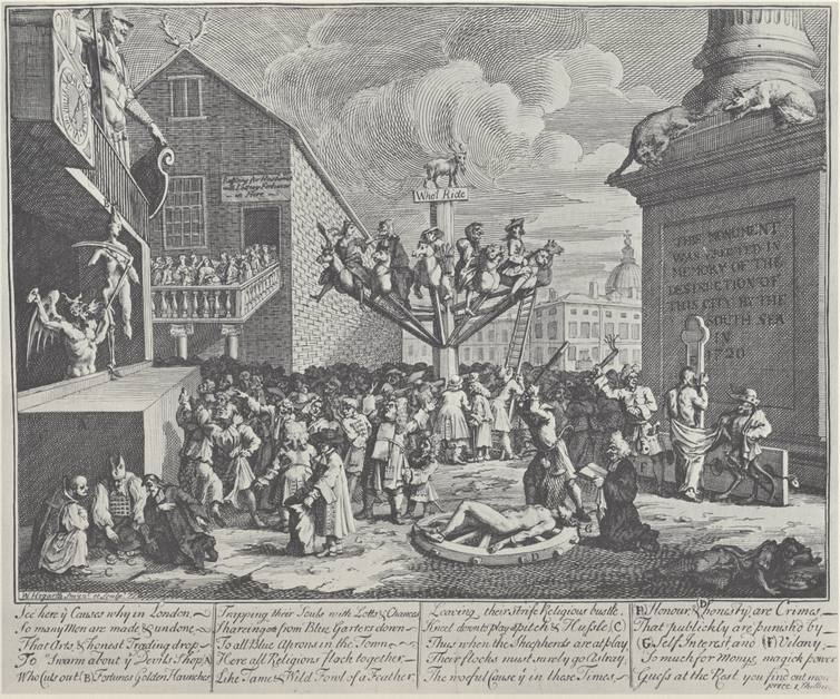 Black and white print by William Hogarth caricaturing the South Sea Bubble.