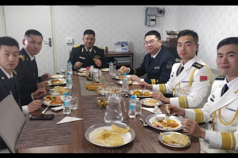 Desi Delight: Chinese Naval Officers Enjoy 'Chole-Bhature' On-Board INS Shakti in China