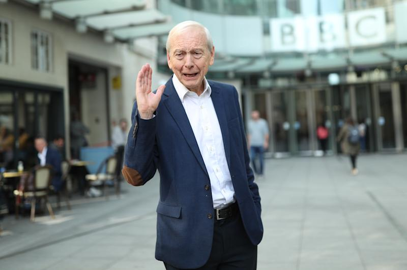Broadcaster John Humphrys leaves New Broadcasting House after presenting his final show on the Today programme. (Photo by Yui Mok/PA Images via Getty Images)