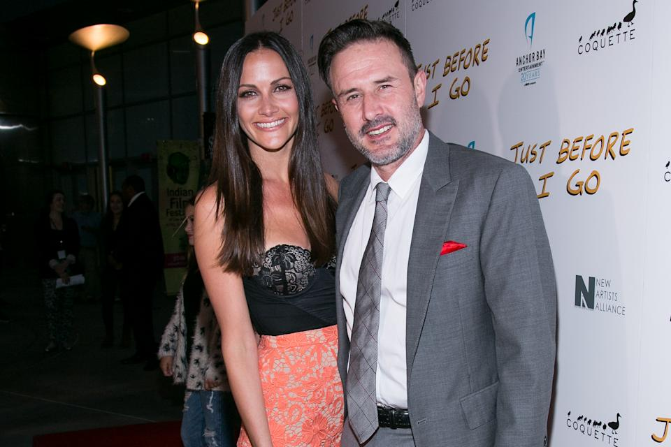 "Christina McLarty, left, and David Arquette attend the LA Screening of ""Just Before I Go"" at ArcLight Hollywood on Monday, April 20, 2015 in Los Angeles. (Photo by John Salangsang/Invision/AP)"