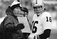 FILE - In this Jan. 4, 1981, file photo, Oakland Raiders head coach Tom Flores, left, talks over a play with quarterback Jim Plunkett during an AFC playoff game in Cleveland. The AFL gave Flores one last chance when the fledging league launched in 1960 and Flores seized the opportunity. He became the original quarterback of the Raiders before going on to a trailblazing career as a coach and executive that landed him in the Pro Football Hall of Fame following a lengthy wait. (AP Photo/File)