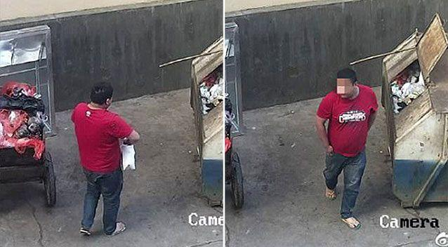 Stills from CCTV footage show the man placing the child in a bin. Source: Police/ Yunnan Daily
