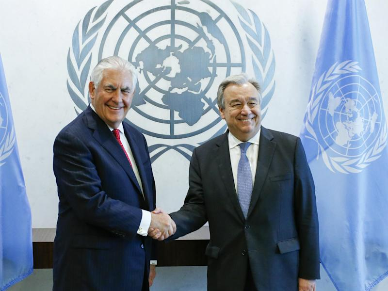 US Secretary of State Rex Tillerson held a private meeting with UN Secretary General Antonio Guterres to discuss the US' limited mission in Syria: Eduardo Munoz Alvarez/Getty Images