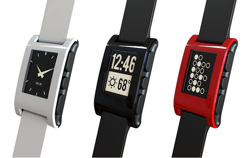 The cult 'smart watch' Pebble has finally arrived - offering email, music controls and text message alerts via an 'E Ink' screen on the wrist.