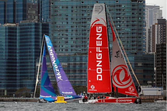 Sailing - Volvo Ocean Race - In-Port Race - Hong Kong, China - January 27, 2018. Team AkzoNobel and Dongfeng Race Team sail. REUTERS/Bobby Yip