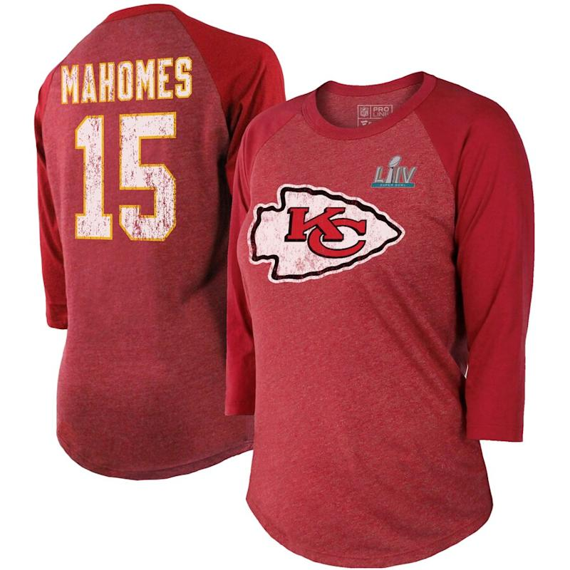 Chiefs Super Bowl LIV Bound Player Name & Number Raglan T-Shirt