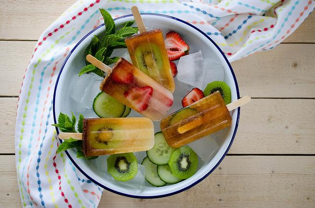 """<p>Pimm's is so easy to drink anyway, meaning these ice lollies are probably a little lethal - but so good. Recipe <a href=""""http://www.thetiffinbox.ca/2013/05/british-classics-pimms-cup-popsicles-pimmsicles.html"""">here</a>.<br /></p>"""