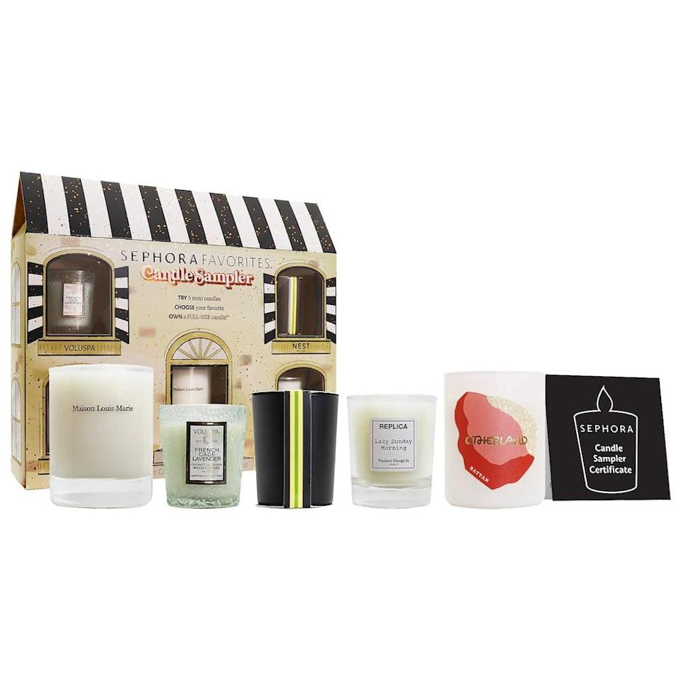 <p>The <span>Sephora Favorites Mini Candle Discovery Set</span> ($50) let's you sample mini sizes of their bestselling scents including the Maison Louis Marie No.04 Bois de Balincourt Candle, Maison Margiela 'REPLICA' Lazy Sunday Morning Scented Candle, Nest New York Grapefruit Candle, Otherland Rattan Sandalwood Vegan Candle, Volupsa French Cade &amp; Lavender Candle. However, you also get a Scent Certificate that lets you redeem a full-size verison of the candle you liked from the set at no additional cost. For $50 you get five mini sizes of luxurious scents and a choice of your favorite full-sized version.</p>