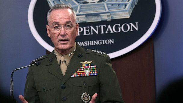PHOTO: Chairman of Joint Chiefs of Staff General Joseph Dunford speaks during a media briefing with Secretary of Defense Mark Esper at the Pentagon, Aug. 28, 2019, in Arlington, Va. (Alex Wong/Getty Images)
