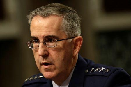 U.S. Air Force General John Hyten, Commander of U.S. Strategic Command, testifies in a Senate Armed Services Committee hearing on Capitol Hill in Washington, U.S., April 4, 2017. REUTERS/Yuri Gripas/Files
