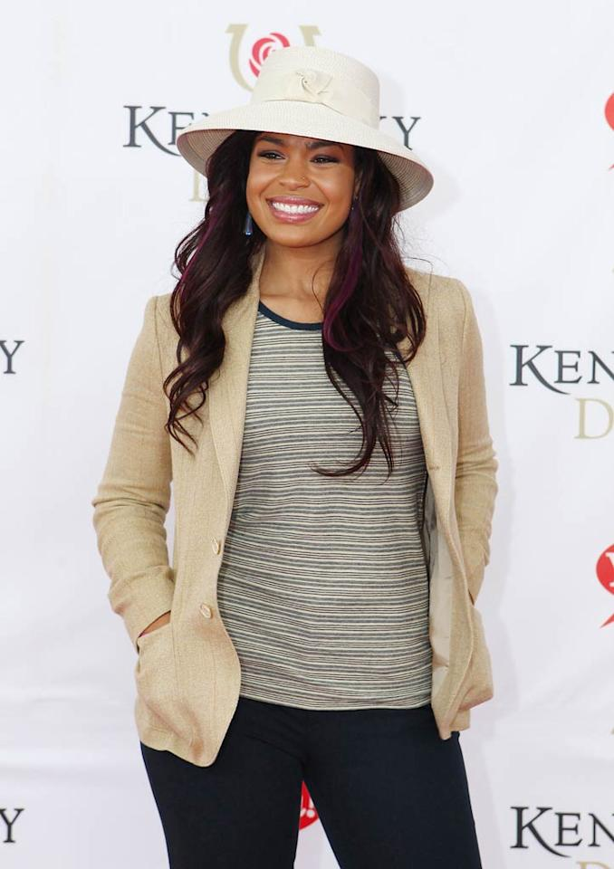 "Jordin Sparks -- who sang the national anthem at the prestigious event -- kept things casual in a striped tee, blazer, and white topper. Michael Hickey/<a href=""http://www.wireimage.com"" target=""new"">WireImage.com</a> - May 7, 2011"