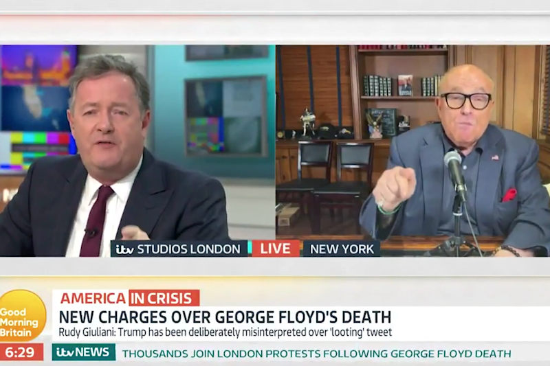 Piers Morgan and US President's Donald Trump's lawyer, Rudy Giuliani, clashed on ITV's Good Morning Britain show on Thursday morning: GMB