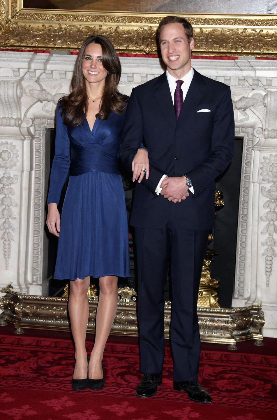 <p>Prince William proposed to his longtime girlfriend, Kate Middleton, while on vacation in Kenya. The couple announced their engagement to the press at St James's Palace in November 2010 and were married in April the following year at Westminster Abbey. </p>