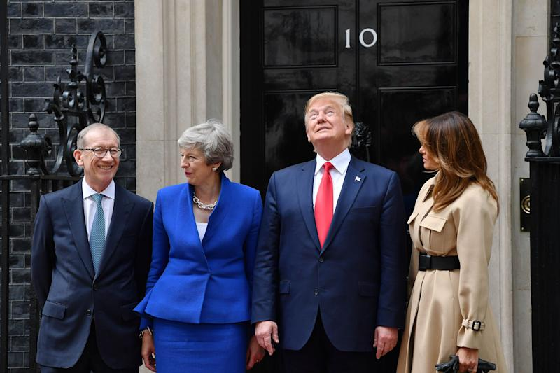 LONDON, ENGLAND - JUNE 04: Prime Minister Theresa May and husband Philip May welcome US President Donald Trump and First Lady Melania Trump to 10 Downing Street, during the second day of his State Visit on June 4, 2019 in London, England. President Trump's three-day state visit began with lunch with the Queen, followed by a State Banquet at Buckingham Palace, whilst today he will attend business meetings with the Prime Minister and the Duke of York, before travelling to Portsmouth to mark the 75th anniversary of the D-Day landings. (Photo by Jeff J Mitchell/Getty Images)