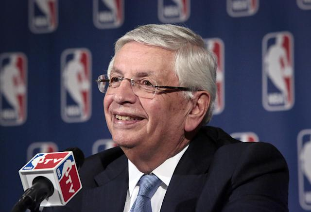 NBA Commissioner David Stern smiles during a news conference after an NBA board of governors meeting Wednesday, Oct. 23, 2013, in New York. (AP Photo/Bebeto Matthews)