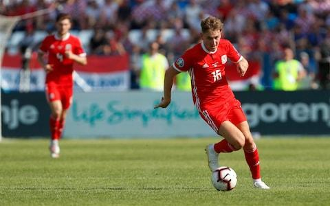 Wales midfielder David Brooks controls the ball during the Euro 2020 group E qualifying soccer match between Croatia and Wales - Credit: AP
