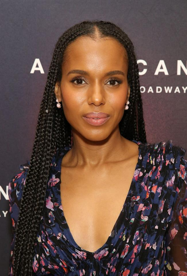 "<p>There is no going wrong with a center parted box braids look. Kerry Washington proved that during a photo call of her play ""American Son"" in 2018. If you look closely, you'll notice she adorned one of her braids with a dainty bead. </p>"