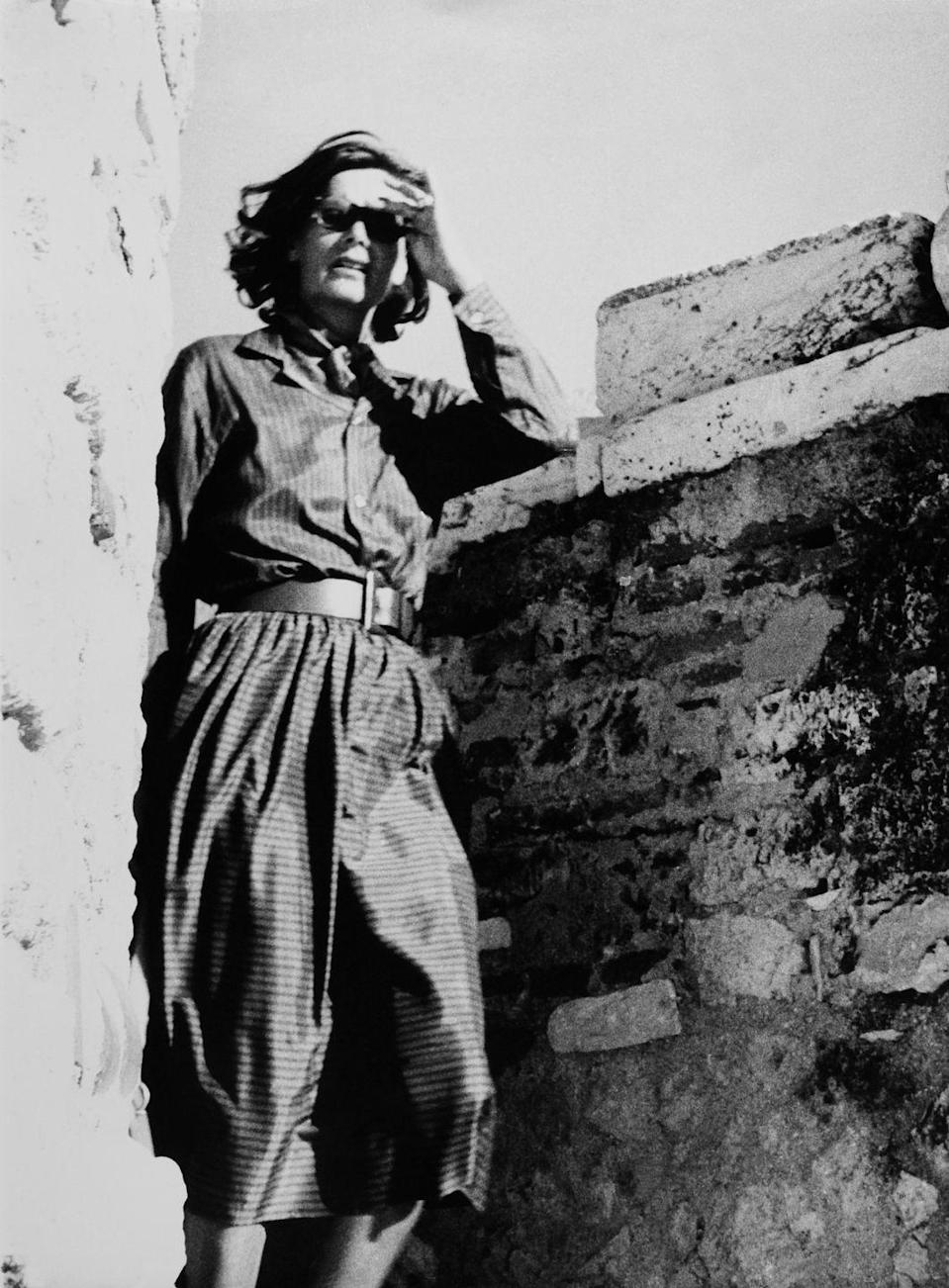 <p>Greta Garbo visits the Acropolis of Athens in Greece, circa 1950.</p>