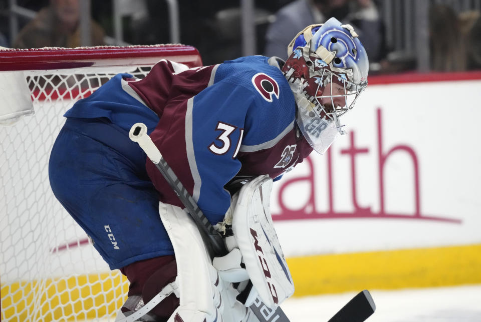 Colorado Avalanche goaltender Philipp Grubauer reacts after giving up a goal to Vegas Golden Knights center Jonathan Marchessault during the third period of Game 5 of an NHL hockey Stanley Cup second-round playoff series Tuesday, June 8, 2021, in Denver. (AP Photo/David Zalubowski)