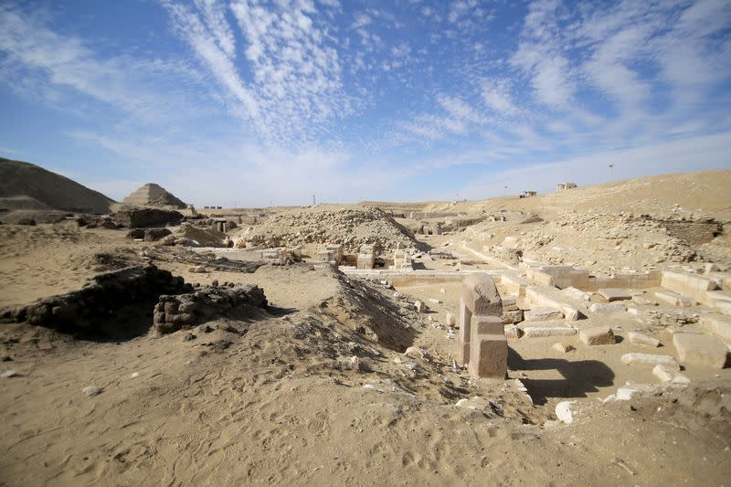 A view shows the site of a recent discovery at the Saqqara necropolis south of Cairo