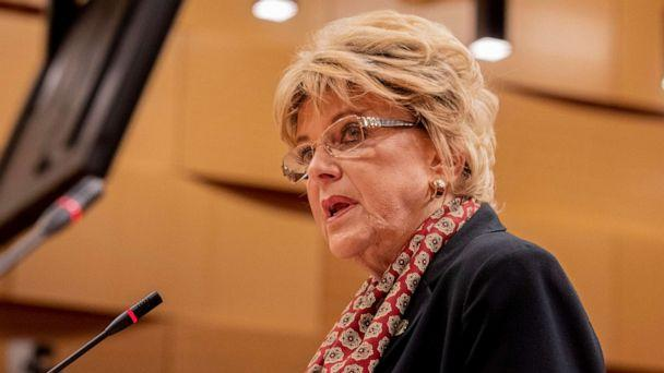 PHOTO: In this March 18, 2020, file photo, Las Vegas Mayor Carolyn Goodman delivers a statement during a public meeting at the Las Vegas City Hall Council Chambers, in Las Vegas. (Elizabeth Page Brumley/Las Vegas Review-Journal via AP, FILE)