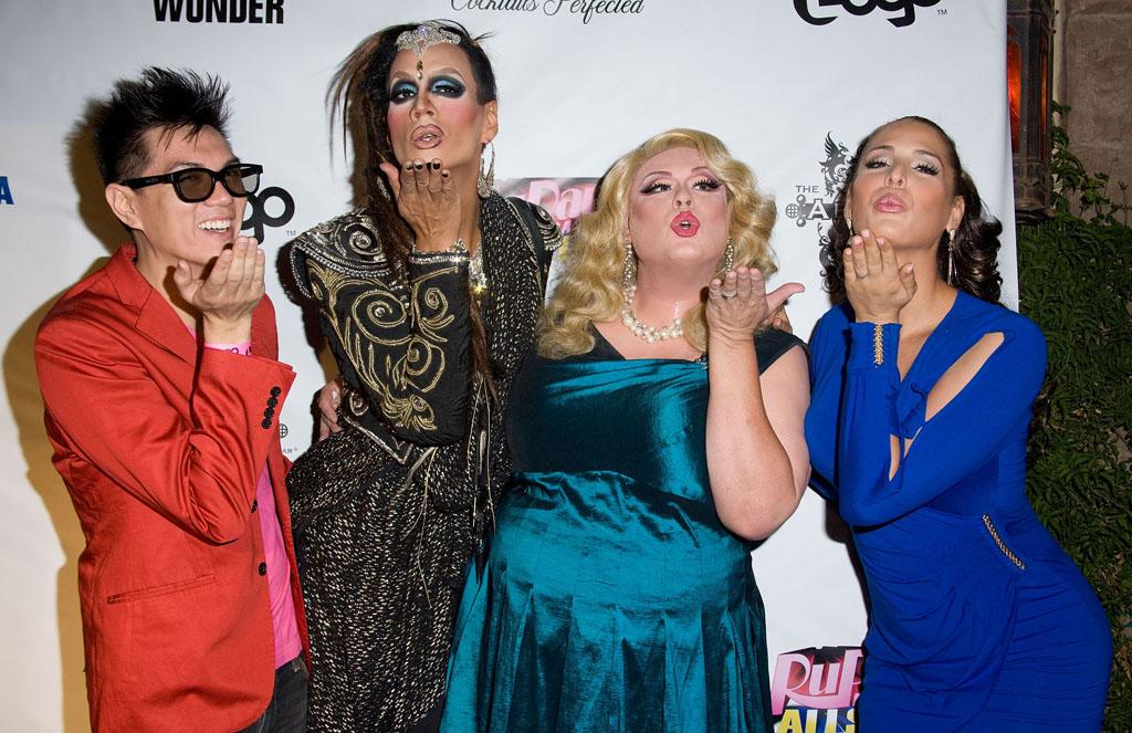 "Manila Luzon, Raja, Delta Work and Carmen Carrera arrive at the ""RuPaul's Drag Race: All Stars"" Premiere Party at The Abbey on October 16, 2012 in West Hollywood, California."