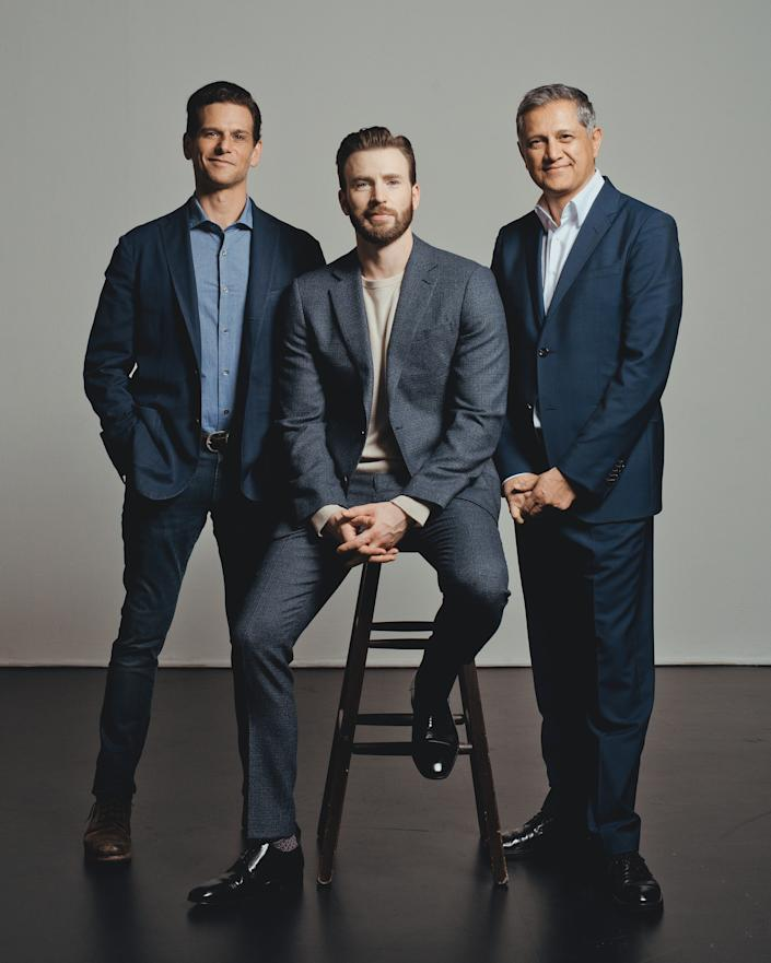 Mark Kassen, Chris Evans and Joe Kiani photographed in Los Angeles, CA on March 11, 2020. | Ryan Pfluger for TIME