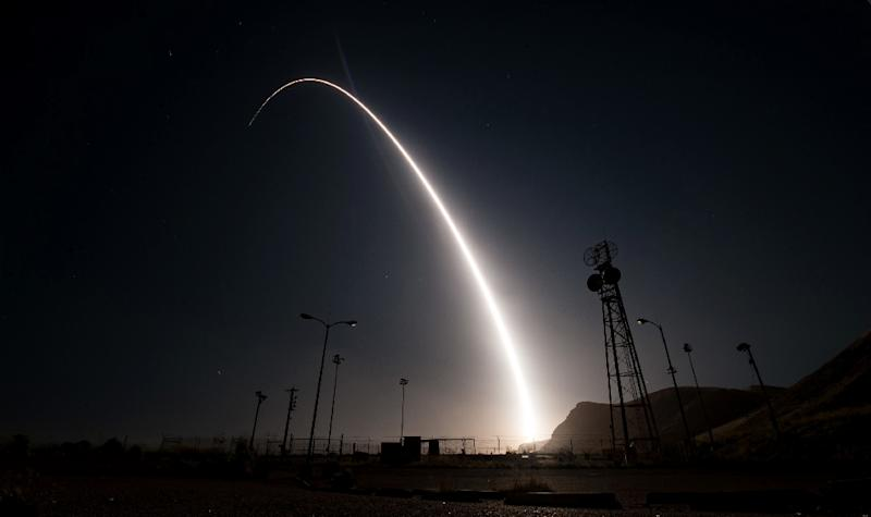 A file image of a Minuteman III missile launching from Vandenberg Air Force Base in California, like the one in Tuesday's aborted test