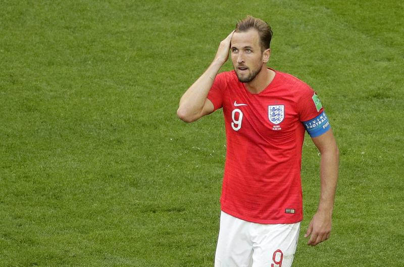 England's Harry Kane reacts during the third place match between England and Belgium at the 2018 soccer World Cup in the St. Petersburg Stadium in St. Petersburg, Russia, Saturday, July 14, 2018. (AP Photo/Dmitri Lovetsky)