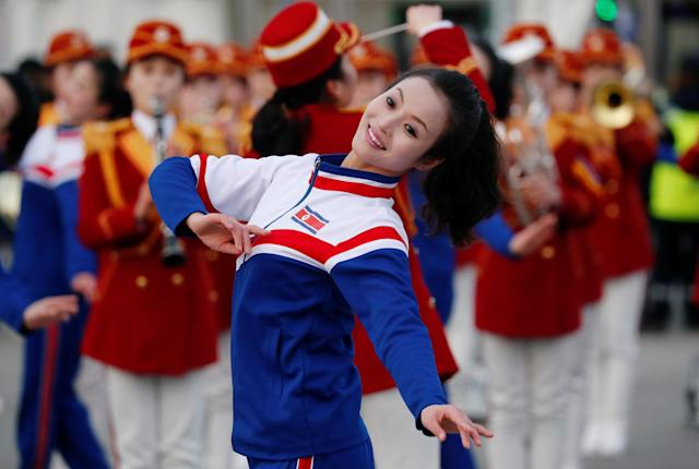 North Korean cheerleaders perform near the Medals Plaza in Pyeongchang, South Korea February 20, 2018. REUTERS/Kim Hong-Ji