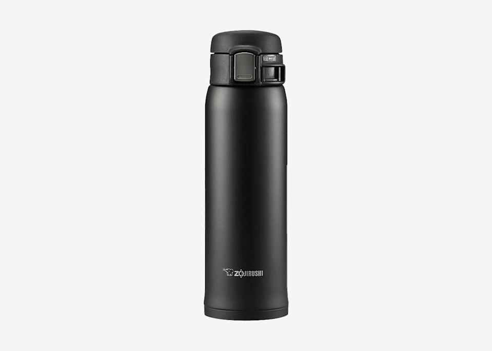 """<p>You've got your insulated bottle for water, but if you want to keep your coffee hot, you're going to need a thermos. Zojirushi's stainless steel travel mug keeps hot drinks warm for up to six hours, and it has a slim design that allows it to easily fit in your car's cup holder. (And if you need to throw it in your bag, it won't leak either.)</p> <p><strong>Buy now:</strong> <a href=""""https://amzn.to/2Azn2KF"""" rel=""""nofollow noopener"""" target=""""_blank"""" data-ylk=""""slk:$26, amazon.com"""" class=""""link rapid-noclick-resp"""">$26, amazon.com</a></p>"""