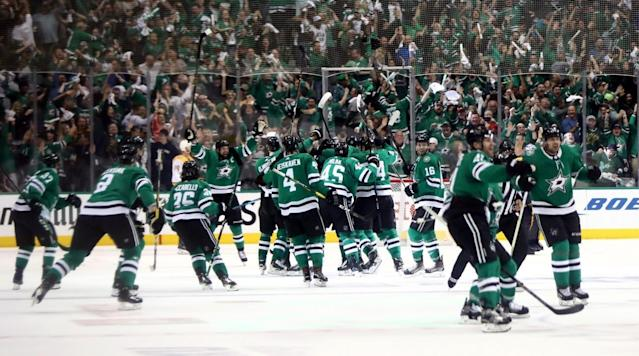 The Stars came out on top in an overtime goalie battle to advance to the second round, while Carolina kept its playoff hopes alive and forced a Game 7 with the Capitals.