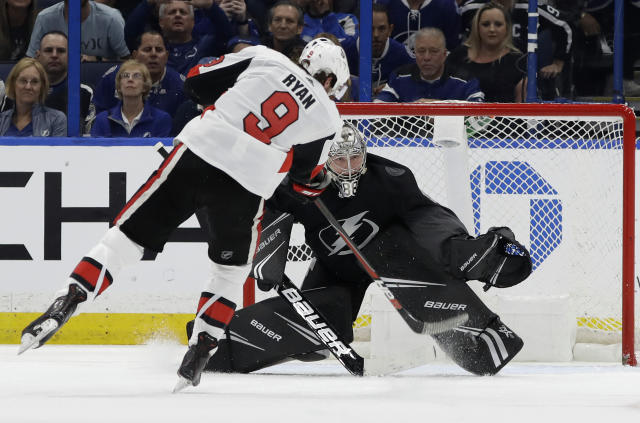 Tampa Bay Lightning goaltender Andrei Vasilevskiy makes a save on a penalty shot by Ottawa Senators right wing Bobby Ryan (9) during the second period of an NHL hockey game Saturday, March 2, 2019, in Tampa, Fla. (AP Photo/Chris O'Meara)