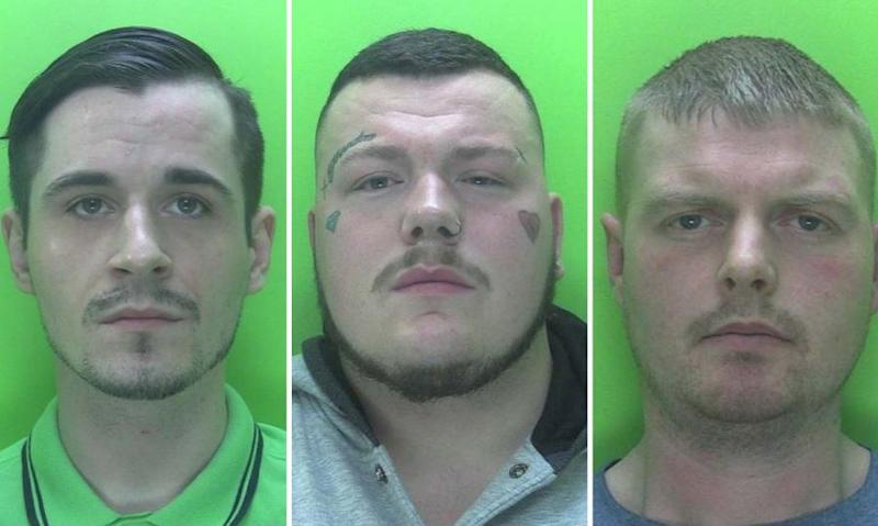 (From l-r) Robert Childerley, 26, Callum Raworth, 25, and Luke Walters, 30 (Picture: Police)