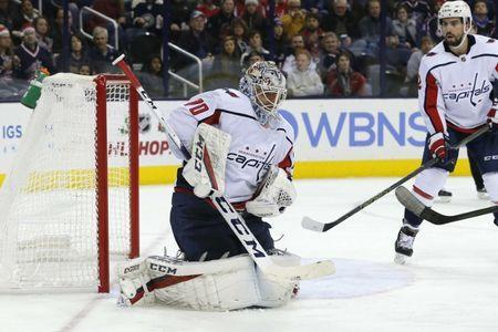 Dec 8, 2018; Columbus, OH, USA; Washington Capitals goalie Braden Holtby (70) makes a save against the Columbus Blue Jackets during the second period at Nationwide Arena. Russell LaBounty-USA TODAY Sports
