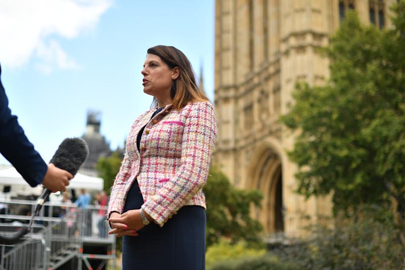 Former immigration minister Caroline Nokes speaking to media on College Green outside the Houses of Parliament in Westminster, London. (Photo by Dominic Lipinski/PA Images via Getty Images)