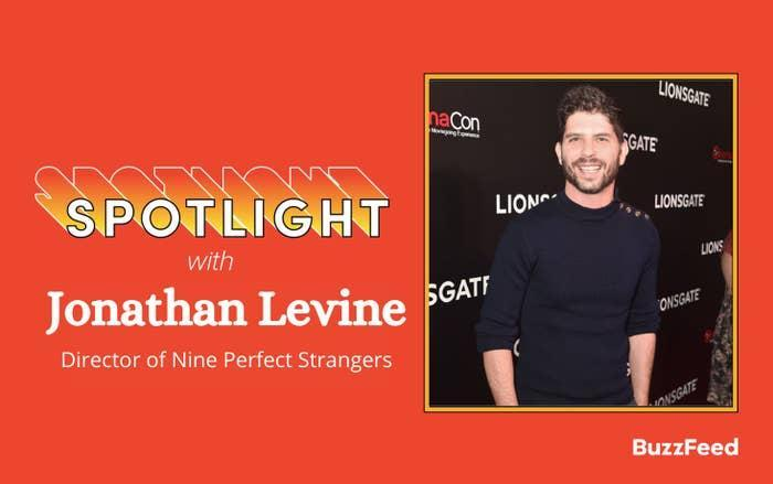 Spotlight with Jonathan Levine with a photo of Jonathan at a premiere on the right