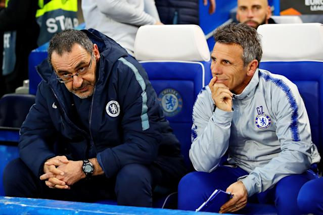 Chelsea manager Maurizio Sarri and Assistant manager of Chelsea Gianfranco Zola look on from the dugout during the UEFA Europa League Quarter Final Second Leg match between Chelsea and Slavia Praha at Stamford Bridge on April 18, 2019 (Photo by Chris Brunskill/Fantasista/Getty Images)