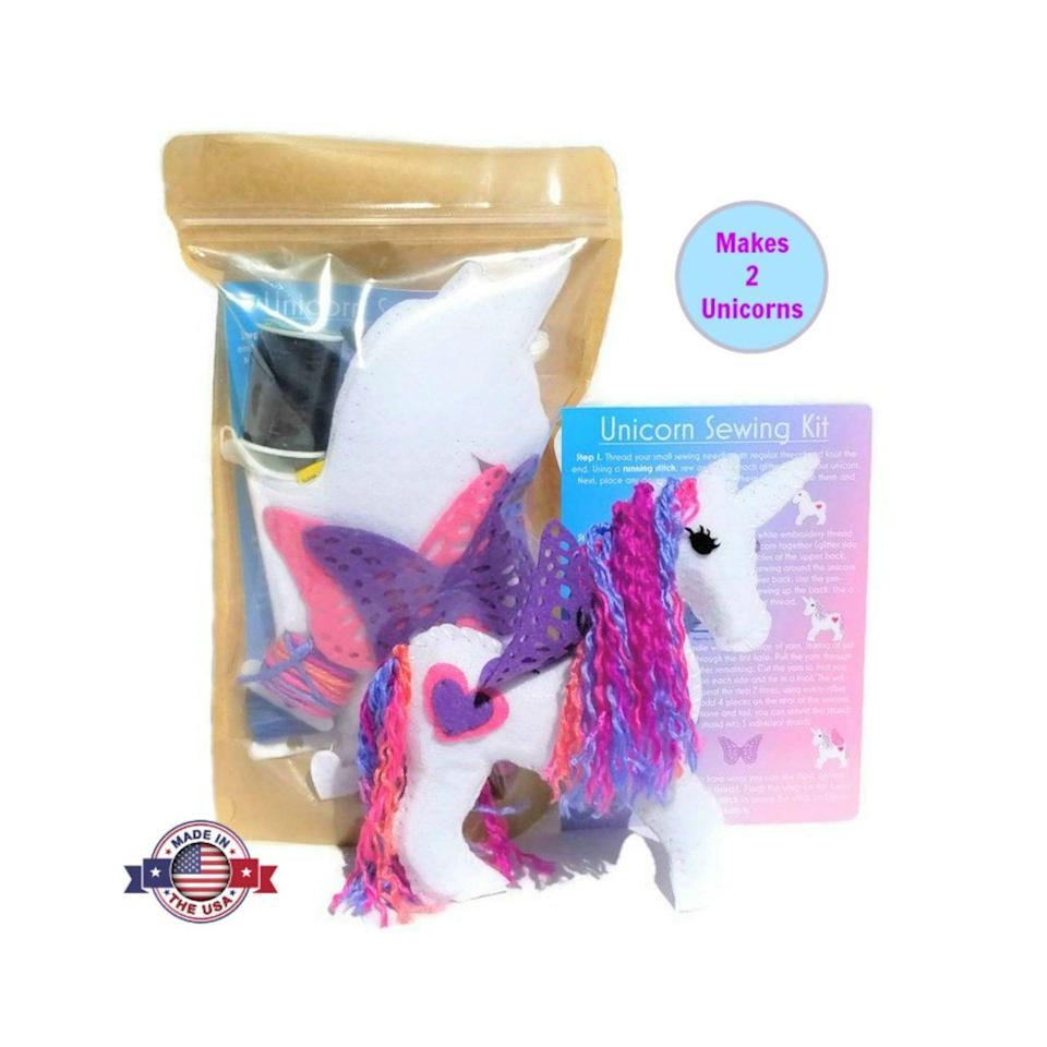 """<p><strong>WildflowerToys</strong></p><p>etsy.com</p><p><strong>$17.99</strong></p><p><a href=""""https://go.redirectingat.com?id=74968X1596630&url=https%3A%2F%2Fwww.etsy.com%2Flisting%2F591329124%2Funicorn-craft-sewing-kit-for-kids&sref=https%3A%2F%2Fwww.goodhousekeeping.com%2Fhome%2Fcraft-ideas%2Fg33956496%2Fbest-kids-sewing-kits%2F"""" rel=""""nofollow noopener"""" target=""""_blank"""" data-ylk=""""slk:Shop Now"""" class=""""link rapid-noclick-resp"""">Shop Now</a></p><p>If your little one just can't get enough of unicorns, they'll love this adorable sewing kit from Etsy. They'll be able to make their own unicorn friends out of felt and colorful yarn — all while getting to learn the basics of sewing. <em>Ages 7+</em><br></p><p><strong>RELATED: </strong><a href=""""https://www.goodhousekeeping.com/childrens-products/toy-reviews/g29389667/best-toys-gifts-for-7-year-old-girls/"""" rel=""""nofollow noopener"""" target=""""_blank"""" data-ylk=""""slk:15 Best Toys and Gifts for 7-Year-Old Girls, According to Kids and Parenting Experts"""" class=""""link rapid-noclick-resp"""">15 Best Toys and Gifts for 7-Year-Old Girls, According to Kids and Parenting Experts</a></p>"""