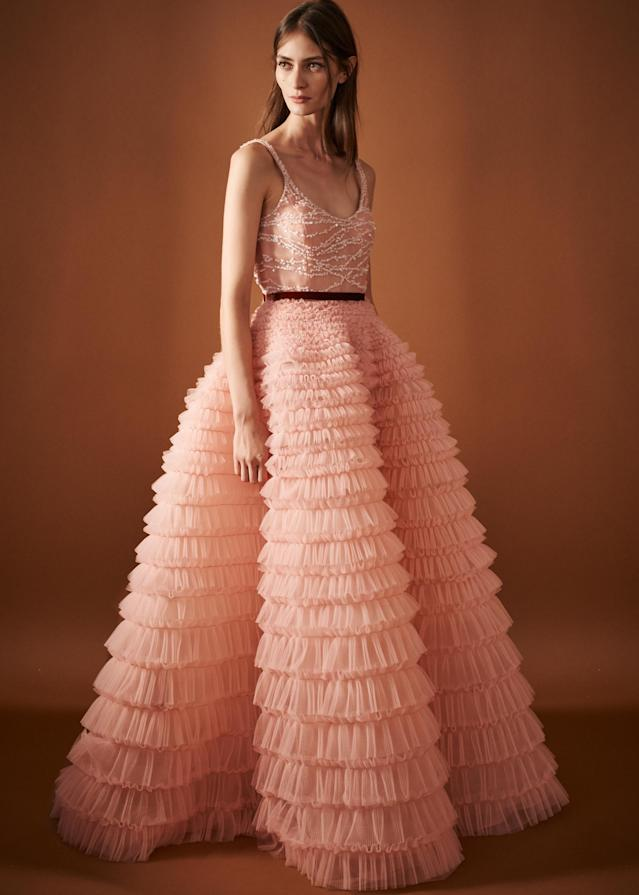 <p><i>A model wears a ruffled, tulle dress with embellishments around the bust from the SS18 J. Mendel collection. (Photo: ImaxTree) </i></p>
