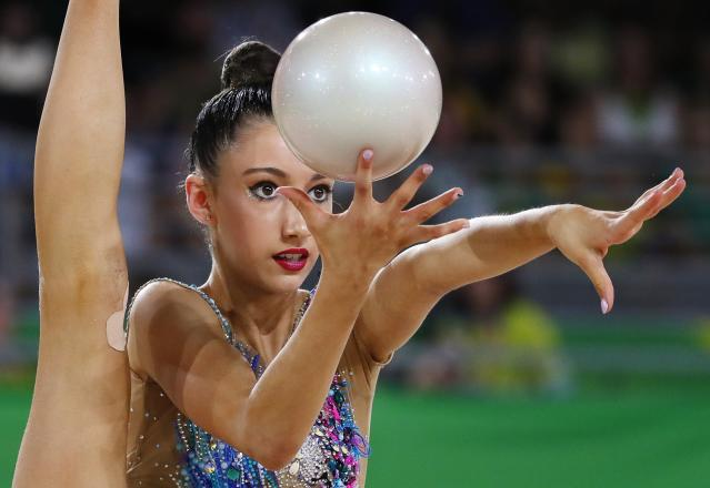 Rhythmic Gymnastics - Gold Coast 2018 Commonwealth Games - Individual Ball Final - Coomera Indoor Sports Centre - Gold Coast, Australia - April 13, 2018. Alexandra Kiroi-Bogatyreva of Australia. REUTERS/David Gray