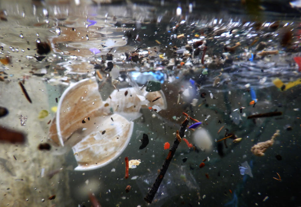 NAPLES, CAMPANIA, ITALY - 2019/11/18: Plastic waste and debris underwater carried by the storm of the last days at sea. The bad weather that hit Naples has caused much damage to the beaches. (Photo by Salvatore Laporta/KONTROLAB/LightRocket via Getty Images)