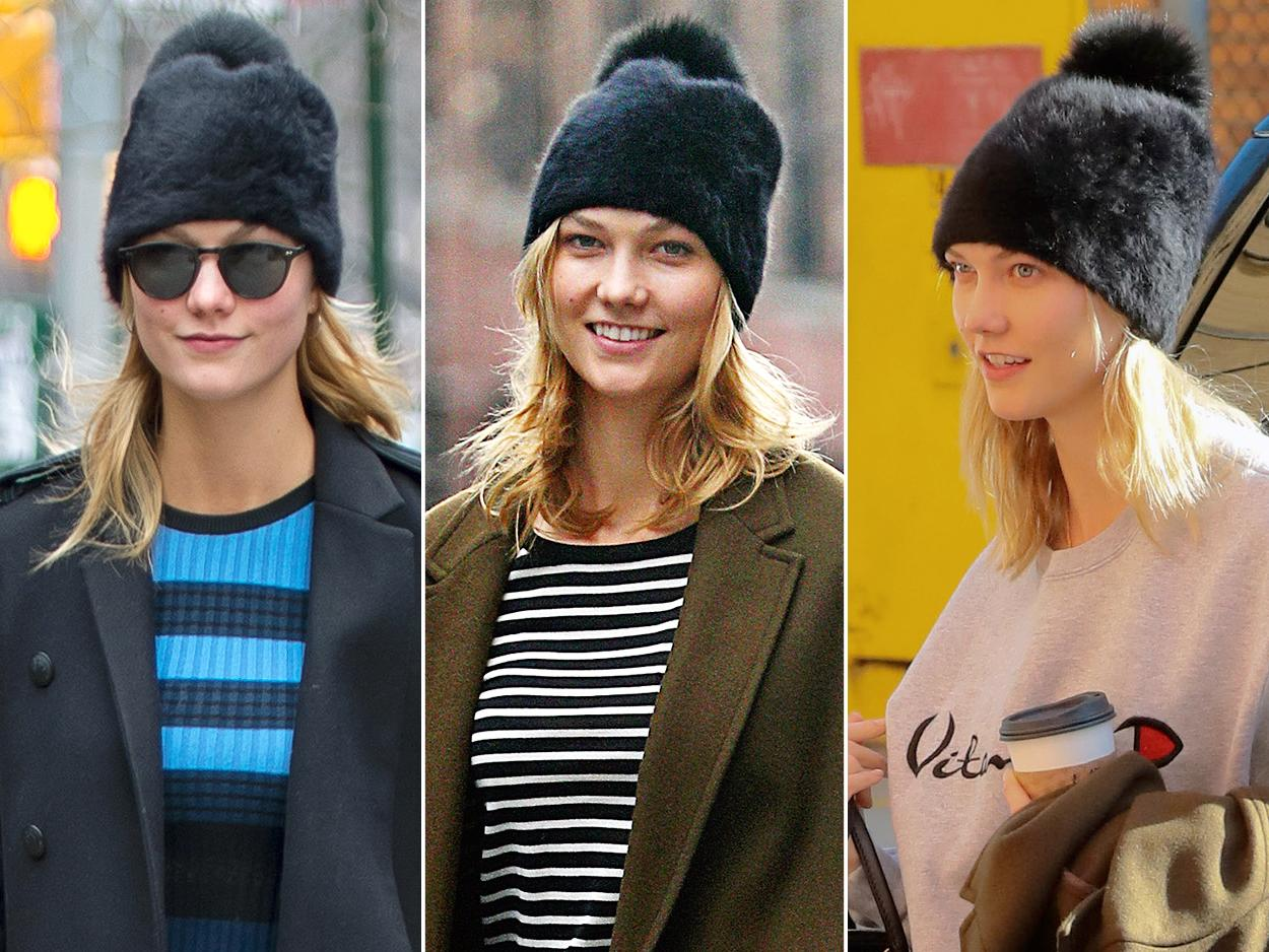 """Karlie Kloss's black pom pom beanie mixes """"snow bunny chic"""" with """"hipster grunge"""" to make one must-have accessory.Look for Less:Boohoo """"Brooke"""" basic beanie detachable fur pom, $7;boohoo.com"""