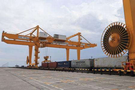 A view of a rail mounted gantry crane is seen at the Khorgos Eastern Gateway in Khorgos