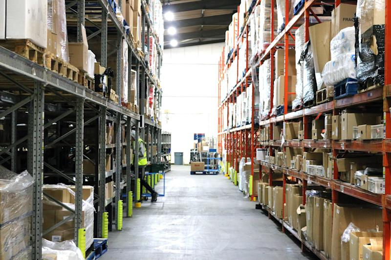 <strong>Thousands of products are held at In Kind Direct's Telford warehouse before being distributed to hundreds of charities across the UK</strong> (George Bowden/HuffPost UK)