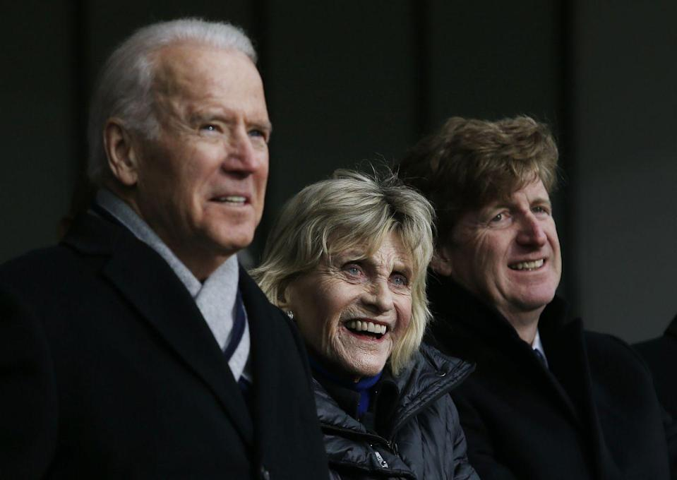 <p>At a ceremony dedicating the Edward M. Kennedy Institute for the United States Senate in her brother's honor, Jean stood with then Vice President Joe Biden and her nephew Patrick J. Kennedy. <br></p>