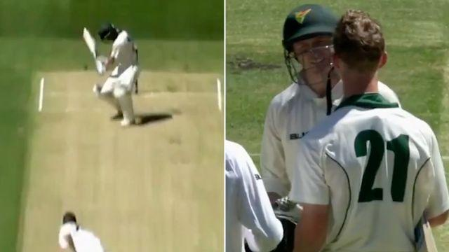 Silk had to be replaced after the nasty knock. Image: Cricket Network