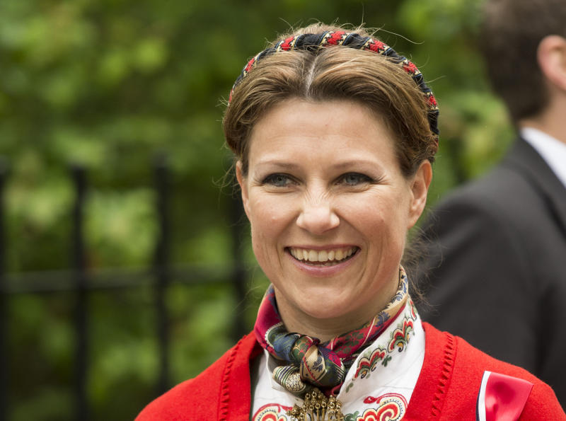 LONDON, ENGLAND - MAY 17: Princess Martha Louise takes part in a parade in Southwark Park as she celebrates Norway National Day on May 17, 2013 in London, England. (Photo by Mark Cuthbert/UK Press via Getty Images)